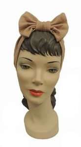 Light Brown  1940s's style Bow Turban